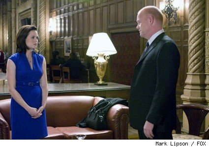 Retired Agent Pierce (Glenn Morshower, R) is sent to escort The President's daughter Olivia (Sprague Grayden, L).