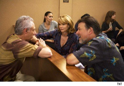 frakes, spiner, holly on the set oe leverage
