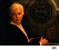 Eloise Hawking (Fionnula Flanagan) opens the door to the Lamp Post station.