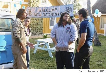 (L-R): Josh Holloway, Evangeline Lilly, Jorge Garcia, and Matthew Fox