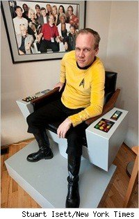 A replica of Capt. Kirk's chair from the set of Star Trek
