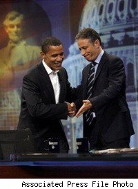Barack Obama and Jon Stewart on The Daily Show