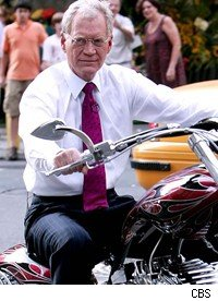 David Letterman can't ride away from his Sarah Palin joke yet.