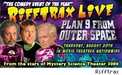 Rifftrax is bringing plan 9 from outer space to movie theaters live.