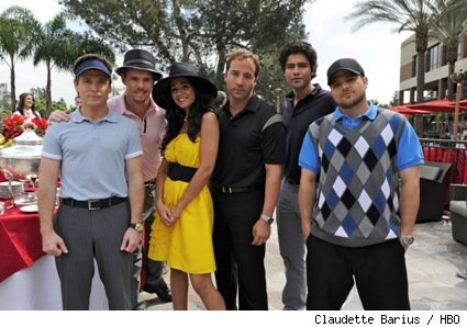 (L-R): Kevin Connolly, Kevin Dillon, Emmanuelle Chriqui, Jeremy Piven, Adrian Grenier, and Jerry Ferrara star in HBO's 'Entourage.'
