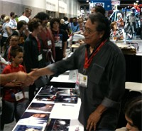 Edward James Olmos greets fans of Battlestar Galactica at Comic-Con International.