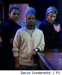 [L-R]: Daniel Sunjata, Larenz Tate, and Denis Leary.