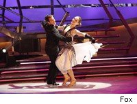 Melissa and Evan dance the quickstep