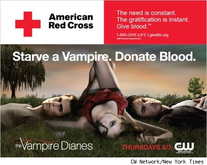 The Vampire Diaries new cross-promotional ad with the American Red Cross