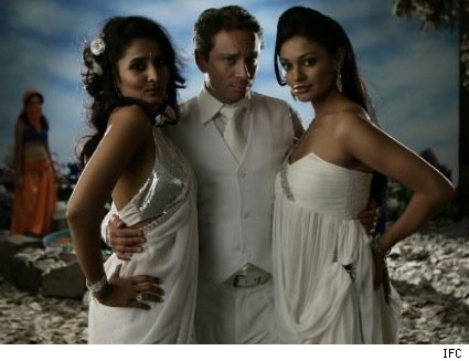 Chris Kattan with Rachna Shah and Pooja Kumar in IFC's Bollywood Hero