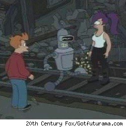 Fry, Bender and Leela in New New York during a Futurama episode