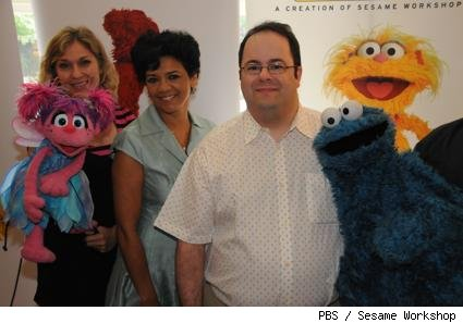 Leslie Carrara as Abby Cadabby, Sonia Manzano (Maria), and Cookie Monster