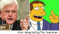Ted Kennedy and Mayor Quimby from The Simpsons
