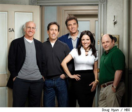 (L-R): Larry David, Jerry Seinfeld, Michael Richards, Julia Louis-Dreyfus, and Jason Alexander