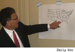 Al Franken drawing a map of the United States