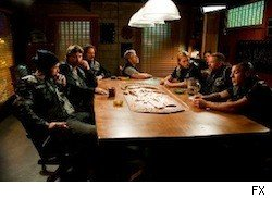 The Sons of Anarachy in their meeting room