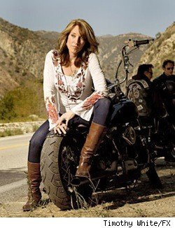 Katey Sagal on the set of Sons of Anarchy