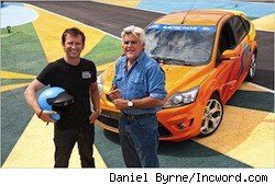 Jay Leno and racecar driver Justin Bell at the Green Car Challenge