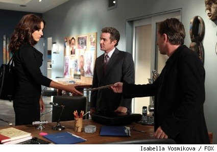 Lightman (Tim Roth, R) and his ex-wife Zoe (guest star Jennifer Beals, L) work against an old rival (guest star James Marsters, C) on a case in the LIE TO ME episode 'Truth or Consequences.'