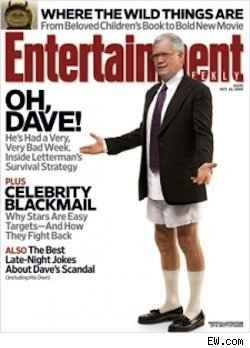 The new cover of Entertainment Weekly featuring a pants-less David Letterman