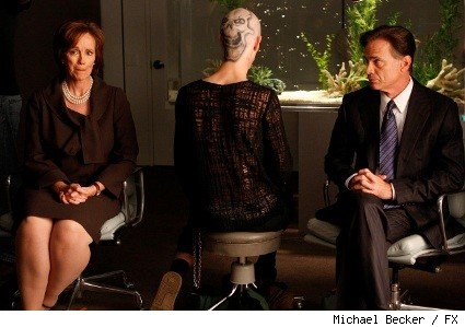(L-R): Joan McMurtrey as Amanda McCloud, Parker Croft as Jared 'Enigma' McCloud and Todd Waring as Garth McCloud on NIP/TUCK.