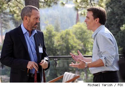 Wilson (Robert Sean Leonard, R) and House (Hugh Laurie, L) have a heated exchange at a medical convention in the 'House' episode 'Known Unknowns.'