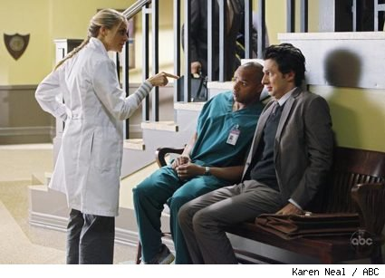 Eliza Coupe, Donald Faison and Zach Braff in Scrubs: Our Drunk Friend