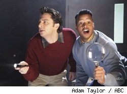 Zach Braff and Donald Faison in Scrubs: Our Mysteries