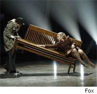 Mollee falls off the bench, right before the SYTYCD finale.