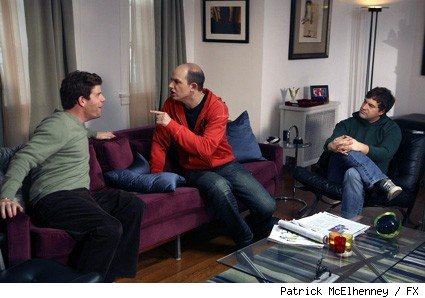 (L-R): Stephan Rannazzisi, Paul Sheer, and Mark Duplass in the season one finale of FX's 'The League.'