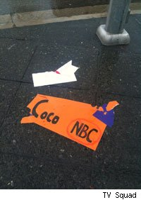 Debris filled the streets after the rally to support Conan O'Brien outside Universal Studios.