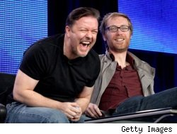 Ricky Gervais and Stephen Merchant at the Winter 2010 TCAs