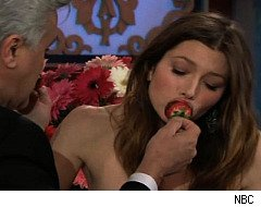 Jessica Biel eats chocolate-covered cricket on 'Jay Leno'