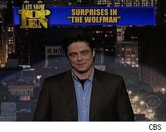 Benicio Del Toro does Letterman's Top Ten List