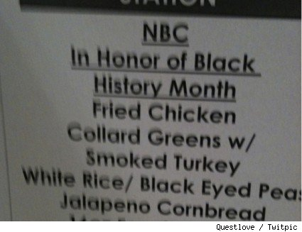 NBC menu snapped by Questlove