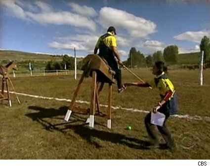 Teams play polo on wooden ponies in Argentina