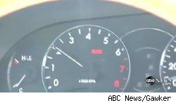 The speedometer from ABC News' report on accelerating Toyotas