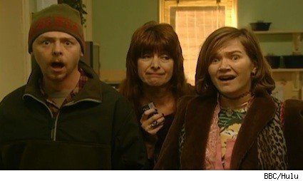 Simon Pegg, Julia Deakin and Jessica Hynes on the BBC sitcom