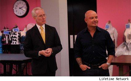 Tim Gunn and Collier Strong talk to the contestants of Project Runway