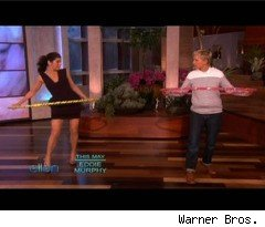 Marisa Tomei Hula Hoops on 'Ellen'
