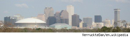 The skyline of New Orleans from Uptown