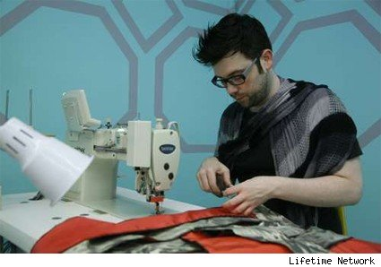 Jonathan tries his best to sew on Project Runway