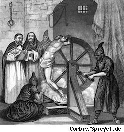 An act of torture during the Inquisition