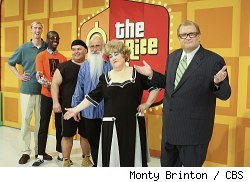 Drew Carey, Kathy Kinney, and the 'models' on the April Fool's Day episode of 'The Price is Right'