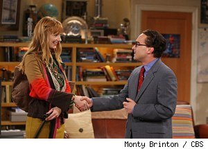Judy Greer and Johnny Galecki in 'The Big Bang Theory'
