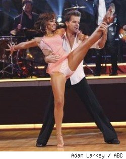 Karina Smirnoff and Louis Van Amstel dance to Train's 'Drops of Jupiter' on the 'DWTS' week 6 results show