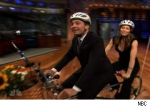 Jessica Biel, Jimmy Fallon Ride Tandem Bike