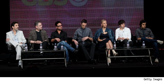 Chuck Lorre, Bill Prady, Johnny Galecki, Jim Parsons, Kaley Cuoco, Simon Helberg, and Kunal Nayyar of 'The Big Bang Theory' at the Summer 2010 TCAs