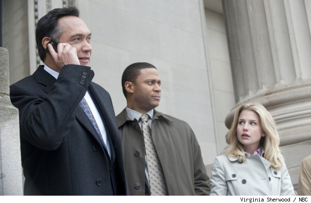 Jimmy Smits, David Ramsey, and Ellen Woglom in 'Outlaw' on NBC