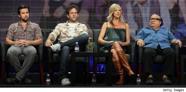 Rob McElhenney, Glenn Howerton, Kaitlin Olson and Danny DeVito at the TCA 2010 panel for 'It's Always Sunny in Philadelphia'